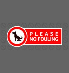 No dog fouling sign modern sticker for city design vector