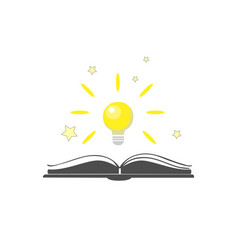 Open book icon with shining bulb over it vector