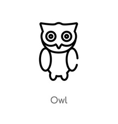Outline owl icon isolated black simple line vector