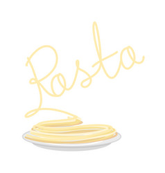 Pasta on plate isolated spaghetti on dish on vector