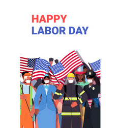 People different occupations celebrating labor vector