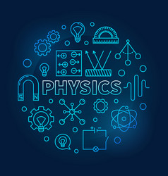 physics round blue science and education vector image