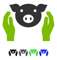 Pig care hands flat icon vector
