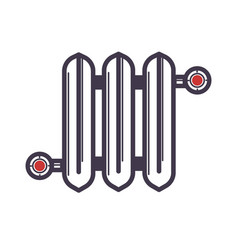 Radiator of three sections with two red valves vector