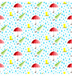 rainwater umbrella rubber boot rain seamless vector image