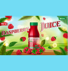 raspberry juice bottle mock up with green vector image