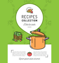 Recipe book cover menu cookbook a4 size boiling vector