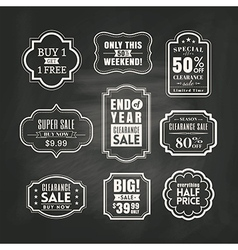 Retail sale tags sign frame on chalkboard vector