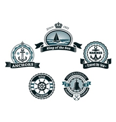 Retro blue nautical labels and badges vector image
