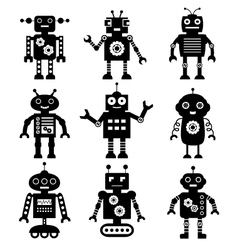 Robot silhouettes set vector
