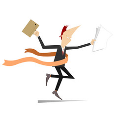 Running businessmen wins in business isolated on w vector