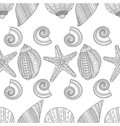Sea shells Black and white seamless pattern for vector image