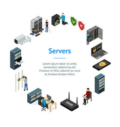 server hardware banner card circle isometric view vector image