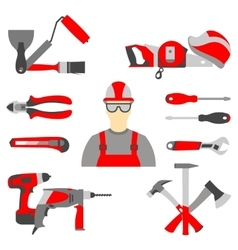 set collection icons of builder equipment vector image
