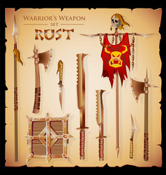 set meele weapon to fantasy style vector image