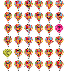 Set of colorful hot air balloon character emojis vector