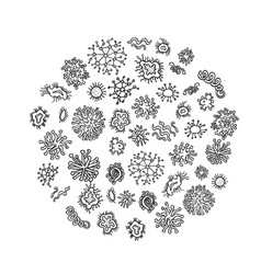 set of different microorganisms isolated on white vector image