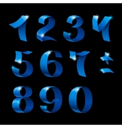 Set of isolated blue color shiny ribbon numbers vector
