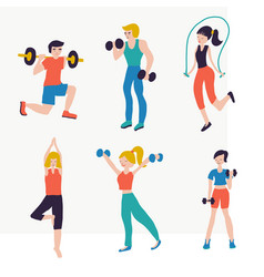 set people fitness workout vector image