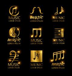 Shiny golden music logos set vector