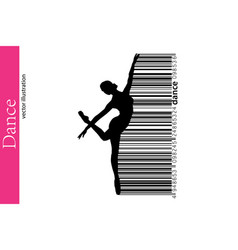 Silhouette of a dancing girl and barcode dancer vector