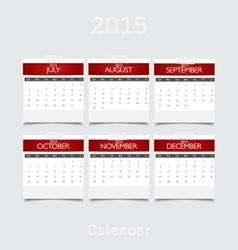Simple 2015 year calendar July August September vector