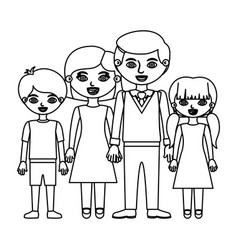 Sketch silhouette family group with parents and vector