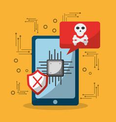 Smartphone data problem virus attaked vector