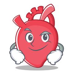 Smirking heart character cartoon style vector