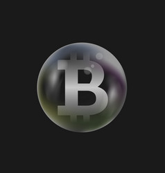 soap bubble with bitcoin sign vector image