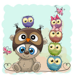 Teddy bear and five owls vector
