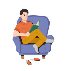 Teenager read book in armchair at home reading guy vector