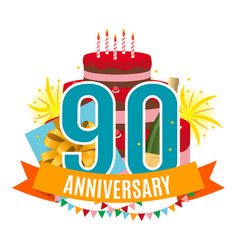 Template 90 years anniversary congratulations vector