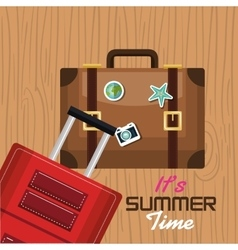 Travel its time summer suitcase vacation design vector