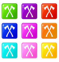 Two crossed axes icons 9 set vector