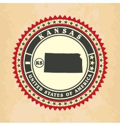 vintage label-sticker cards kansas vector image