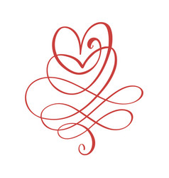 Vintage swirl calligraphic flourish with heart vector