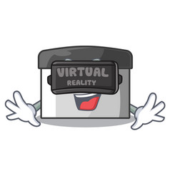 Virtual reality pastry scraper on wooden mascot vector