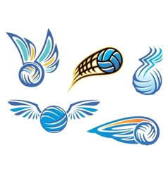 Volleyball symbols and emblems vector image
