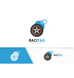 Wheel and tag logo combination tire and vector