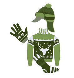 winter accessories and knitwear with festive print vector image