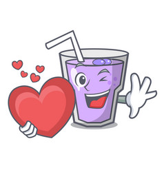 with heart berry smoothie mascot cartoon vector image
