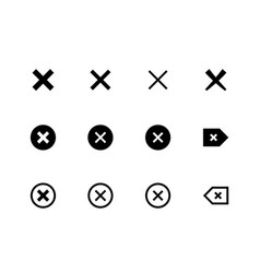 x marks delete cancel icons vector image