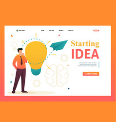 Young man launches a business idea for web design vector