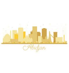 Abidjan ivory coast city skyline golden silhouette vector
