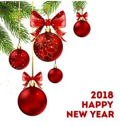 happy new year 2018 holiday poster with spruce vector image vector image