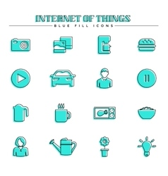 Internet of things and smart home blue fill icons vector