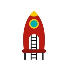 Red rocket with stairs on a playground icon vector image vector image