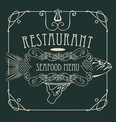 seafood restaurant menu with hand tray and fish vector image