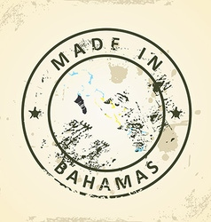 Stamp with map flag of Bahamas vector image vector image